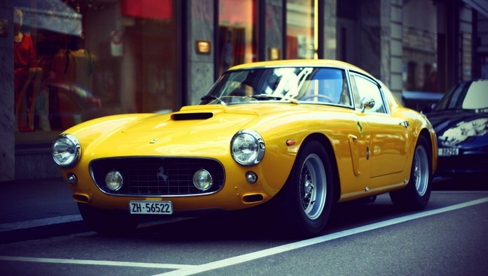 Vintage ferrari yellow wallpaper