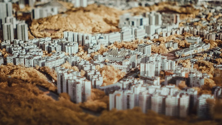 Hong kong cityscapes depth of field infrared tilt-shift wallpaper