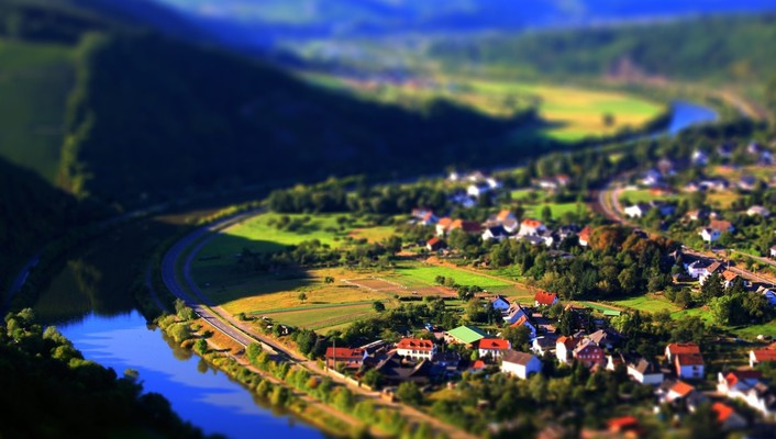 Cityscapes landscapes rivers tiltshift villages wallpaper