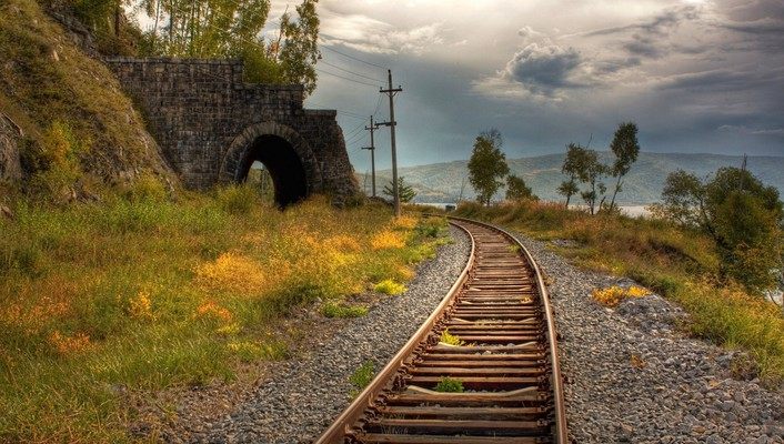 Landscapes nature grass railroad tracks railway columns arch wallpaper