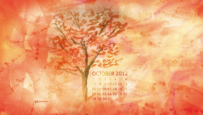 Paintings trees leaves calendar october watercolor smashing magazine wallpaper