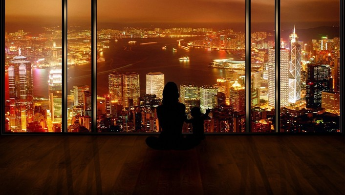 Cityscapes night photo manipulation silhouettes window wallpaper