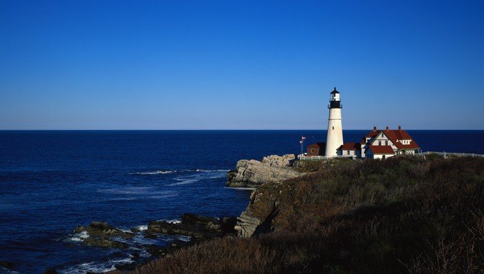 Nature lighthouses panorama skies sea wallpaper