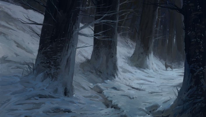 Snow trees forests artwork wolves wallpaper