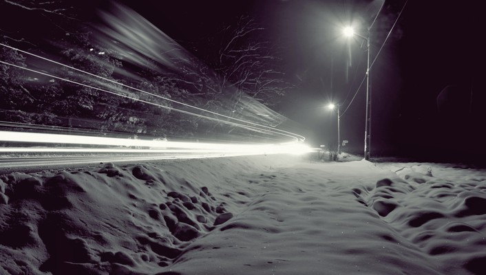 Snow night lights wind winter roads wallpaper