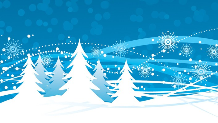 Winter trees vector illustrations snowflakes wallpaper
