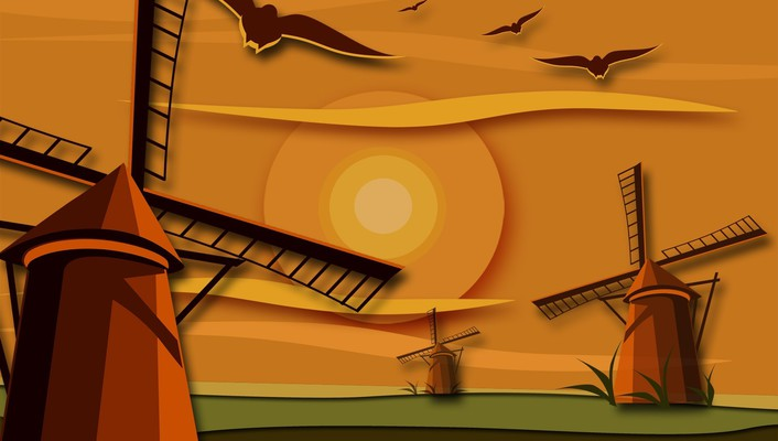 Sun birds multicolor vectors windmills wallpaper