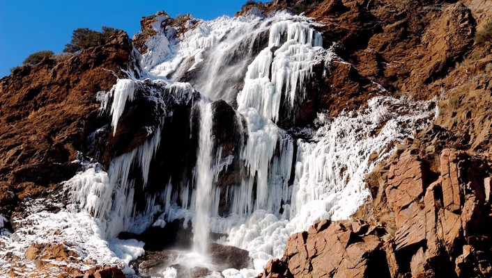Ice mountains nature frozen rocks waterfalls wallpaper