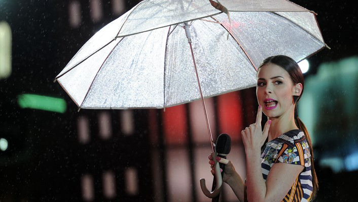 Rain long hair open mouth umbrellas microphones wallpaper