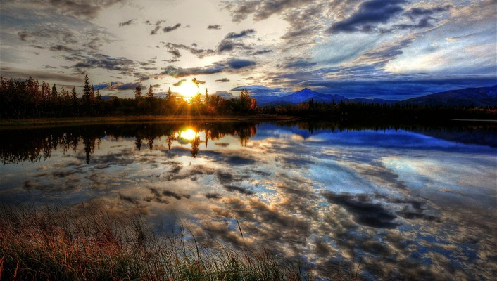 Hdr photography landscapes reflections skyscapes sunset wallpaper