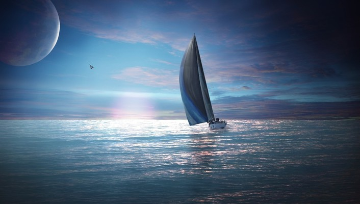 Fantasy art sailboats seascapes wallpaper