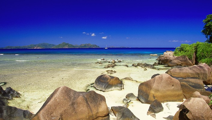 Nature beach rocks seychelles wallpaper
