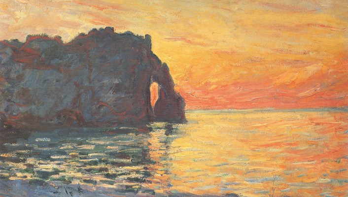 Paintings cliffs seaside claude monet impressionism wallpaper