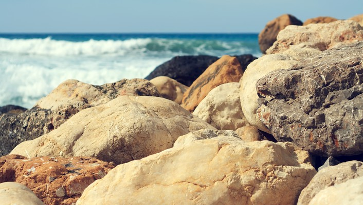 Beach waves stones sea wallpaper