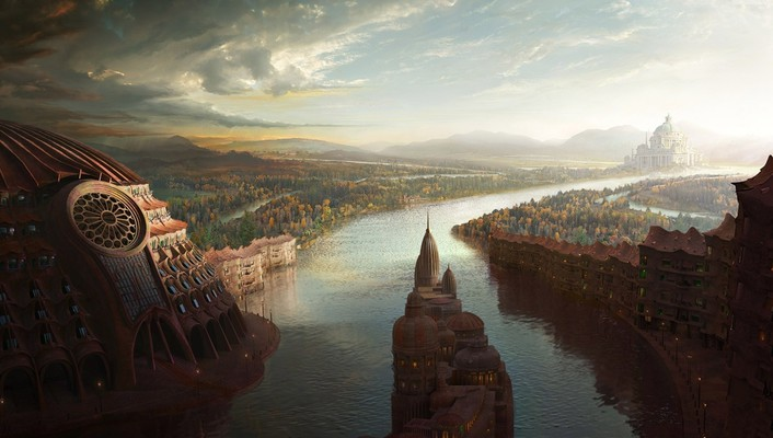 Abstract cities fantasy art wallpaper