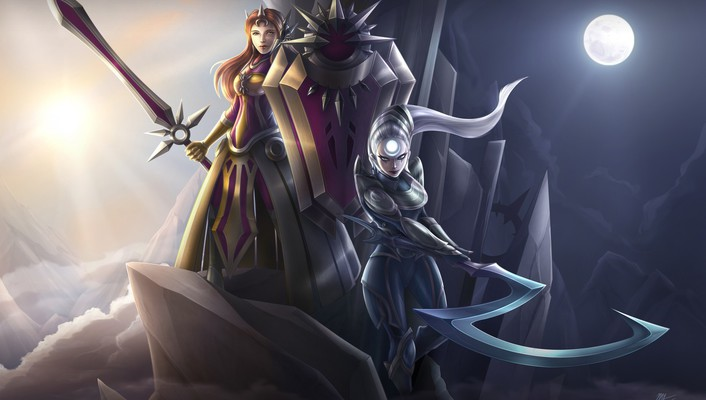 Sun moon league of legends luna leona diana wallpaper