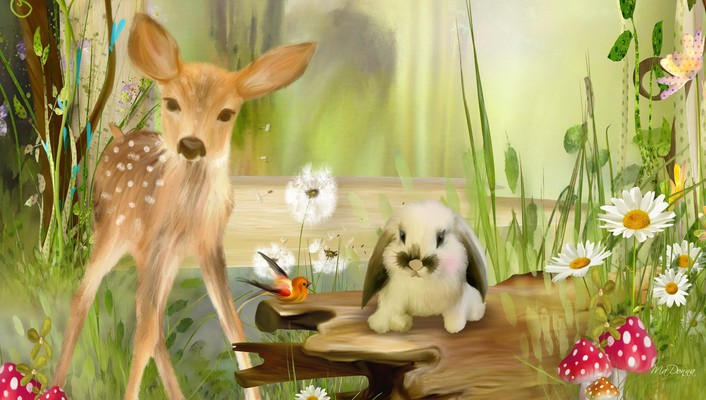 Sweet fawn and spring bunny wallpaper