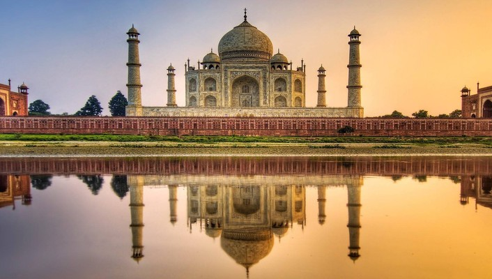 Water sunset nature taj mahal wallpaper