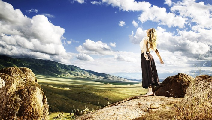 Clouds horizon landscapes lone woman motivational wallpaper