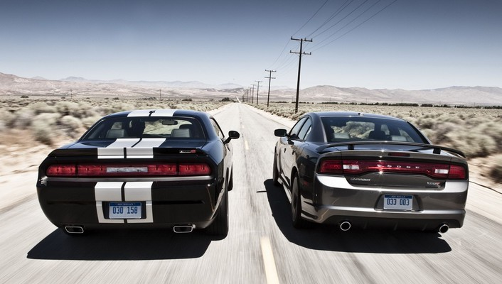 Two dodge car belonging on the road wallpaper