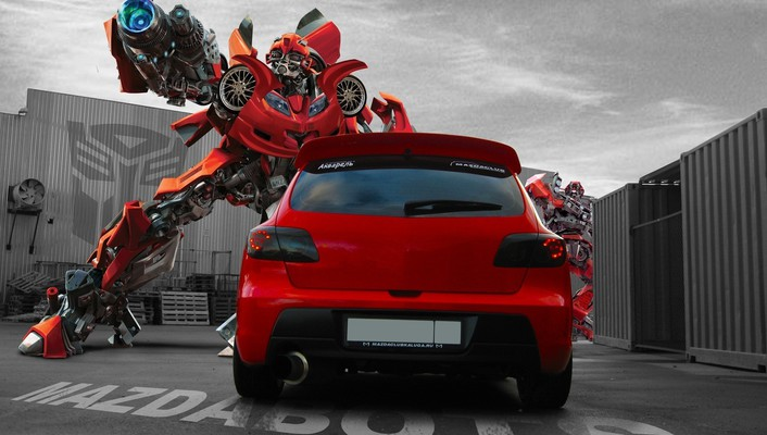 Mazda transformers cars red robots wallpaper