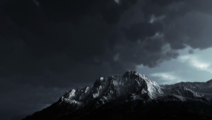 Mountains clouds landscapes shadows overcast wallpaper