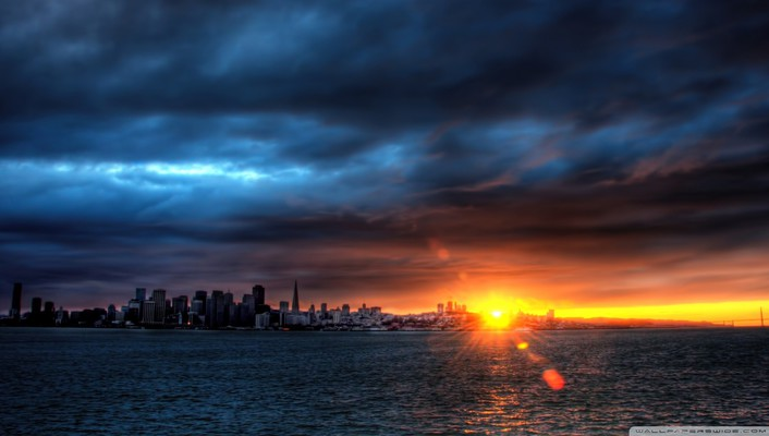 Sunset over frisco bay hdr wallpaper