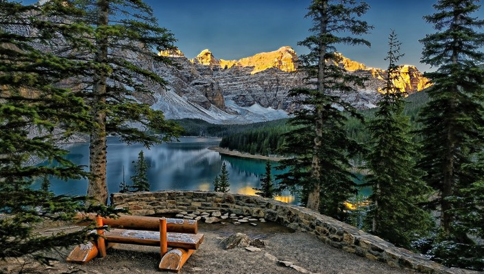 Trees forests canada maligne lake snowy peaks wallpaper
