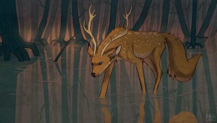 Animals artwork deer digital art drawings wallpaper