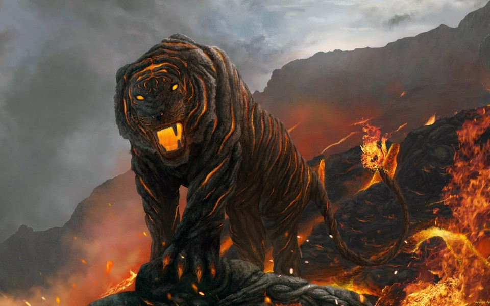 Tiger Art Wallpaper Jpg 960 800: A Tiger From Hells Volcano Wallpaper